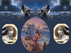 Image detail for -Native American Art - art, feather, Indian, spear, tree, water, wolves