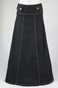 Everyday Beauty Black Long Jean Skirt, Sizes 2-18