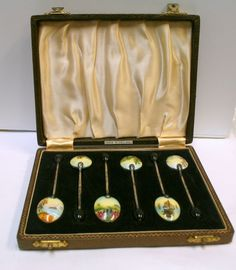 Vintage H Clifford Davis Sterling Silver Enamel Boxed Set of 6 Coffee Spoons B84