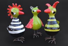 Edith Léon, grands oiseaux, grote vogels, large birds, 35 cm, ceramics, keramiek, céramique
