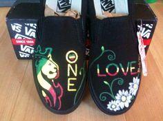 Bob Marley, one love, hand painted vans.