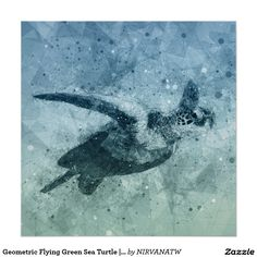 Geometric Flying Green Sea Turtle | Poster