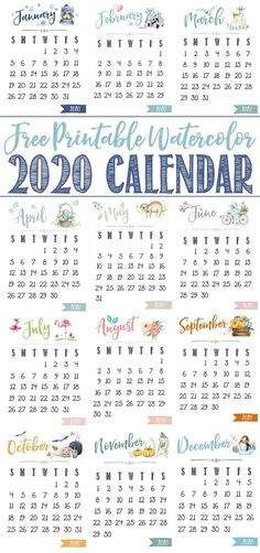 This free printable 2020 calendar adds a pretty touch to your desk or home office. Makes a wonderful, inexpensive Christmas gift idea too! Cute Calendar, Calendar Pages, 2019 Calendar, Desk Calendars, Blank Calendar, December Calendar, Print Calendar, Yearly Calendar, Early Education