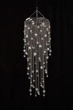 Faux Metal Beaded Chandelier W/ Acrylic Globes-mysticdreamsshoppe