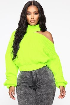 Available In Neon Yellow, Navy, Rust, Taupe, And WineTurtleneckCut Out DetailLong SleeveElastic Polyester Spandex White Fashion, Love Fashion, Fashion Outfits, Teen Fashion, Overall Skirt, Satin Mini Dress, Sweater Set, Fashion Nova Models, Neon Yellow