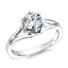 Mounting with side stones .01 ct. tw., 1 ct. round center | Valina Bridals