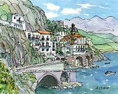 Items similar to Atrani Amalfi Coast Italy art print from an original watercolor painting on Etsy Watercolor Sketch, Watercolor Print, Watercolor Paintings, City Sketch, Watercolor Architecture, France Art, Italy Art, Urban Sketching, Positano