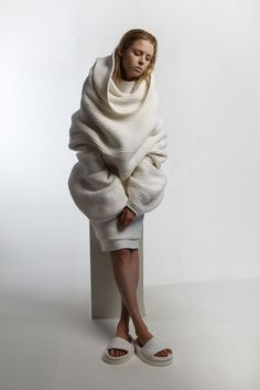 Makuba 2014 This collection was purely made from rope; a non traditional knitting material. The oversized nature of the garment shows the organic flowing loftiness of the knit Katherine Mavridis Credit: The Raw Book