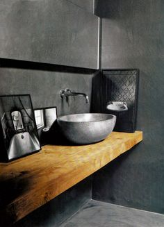 Warm Rustic Black Bathroom