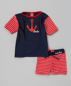 Another great find on #zulily! Navy & Red Anchor Rash Guard & Shorts - Infant, Toddler & Boys #zulilyfinds