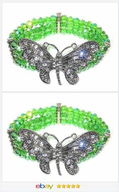 Butterfly Bracelet Green Glass Crystal stretchable VALENTINES DAY #EBAY http://stores.ebay.com/JEWELRY-AND-GIFTS-BY-ALICE-AND-ANN