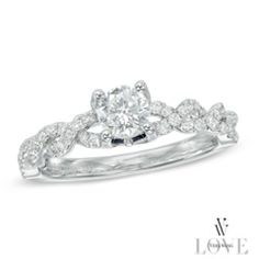 Vera Wang LOVE Collection 3/4 CT. T.W. Diamond Cascading Shank Engagement Ring in 14K White Gold - Zales