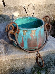 French Antique Hanging Copper Pot Rustic Garden Planter Verdigris Patina Flowers Herbs Farmhouse Shabby Country Rustic Metalware by FrenchMarketFinds on Etsy
