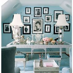 I want my home office to look like this except I want a lilac or soft royal purple color