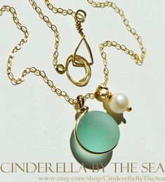 Genuine Sea Glass XL English Aquamarine Sea Glass Flawless - handmade necklace in 14 k Gold Fill by CinderellaByTheSea on Etsy Handmade Necklaces, Handmade Gifts, Glass Photo, Sea Glass Jewelry, Timeless Beauty, Precious Metals, Cinderella, Addiction, Fill