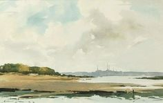 Edward Wesson (1910 — 1983, UK) The Solent from Shalfleet, Isle of Wight. 1981 watercolor on paper. 30.5 x 48 cm.