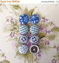 HOLIDAY SALE Fabric Button Earrings / Happy by ManhattanHippy