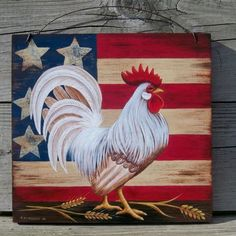 Wooden-Sign-Hand-Painted-PATRIOTIC-AMERICAN-FLAG-ROOSTER-Art-Trish-McMurry