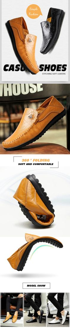 Men Stitching Soft Loafers Flat Slip On Casual Business Leather Casual Shoes