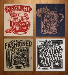 Classic Cocktail Block Prints – Set of 4 by Straw Castle on Scoutmob Shoppe. Devote a wall to the finest of cocktails: Negroni, Moscow Mule, Old Fashioned and Cuba Libre.