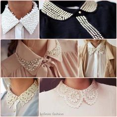 Pinshare - Most Beautiful Pin Shares. Neckline Designs, Collar Designs, Blouse Designs, Diy Fashion, Womens Fashion, Fashion Design, Fashion News, Sewing Collars, Pearl Embroidery