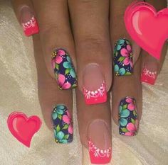 Crazy Nails, Fancy Nails, Bling Nails, Pretty Nails, Creative Nail Designs, Creative Nails, Nail Art Designs, Basic Nails, French Tip Nails