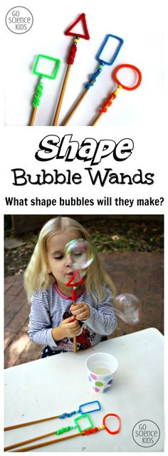 Make shape bubble wands and let the kids experiment. Does one work better? Do the bubbles look different? Appealing to NCTM math standards, this is a great outdoor or summer science activity for young kids. Teach kids about and shapes in a fun way! Kid Science, Summer Science, Science Activities For Kids, Preschool Science, Math For Kids, Summer Activities, Learning Activities, Preschool Activities, Fun Math
