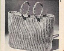 Vintage Crochet Bag Pattern, 50s Crocheted  Bag Pattern, PDF Pattern, Instant Download,  Needlecraft Re-Typed Pattern, Carry-All Bag