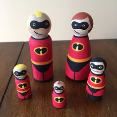 The Incredibles peg doll set by ClarasCreations2011 on Etsy