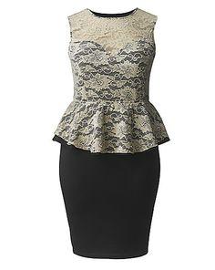 AX Paris Lace Peplum Dress | Simply Be
