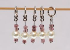 Stitch Markers, Pearls and Rose Pink, snagless