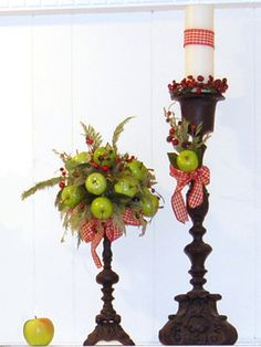 pple and Evergreen Topiary    Mixed evergreens and bright green apples combine to create a beautiful, organic addition to your holiday decor. Create your own Apple and Evergreen Christmas Topiary with our step-by-step instructions. Image… more