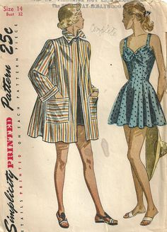 Simplicity 2441 Vintage 40s Sewing Pattern Swimsuit Bathing Suit Beach Jacket Size 14 Bust 32