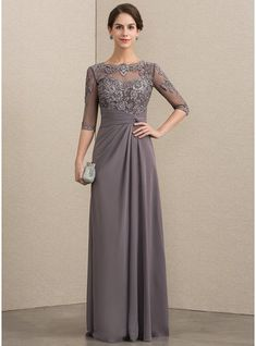8b9c876d109 A-Line Princess Scoop Neck Floor-Length Chiffon Lace Mother of the Bride  Dress With Beading Sequins (008152153)