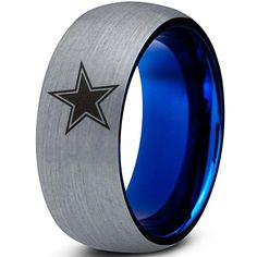 Charming Jewelers presents Zealot Jewelry with this classic brushed top step edge beveled tungsten carbide band featuring a beautifully engraved Star design Dallas Cowboys Wedding, Dallas Cowboys Cake, Cowboys Football, Tungsten Wedding Bands, Wedding Ring Bands, Polish Wedding, Black Tungsten Rings, Rings For Men, Rings