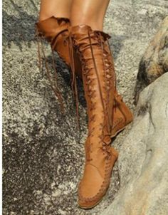 Bandage Tassels Thigh-high Boots Shoes