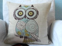 "Cotton linen square decor throw pillow case / cushion cover  light green cute cartoon owl 18 ""x18 ""."