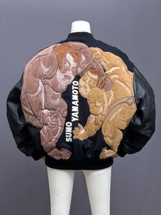 """japanesefashionarchive: """" Kansai Yamamoto (山本寛斎) embroidered """"SUMO YAMAMOTO"""" stadium jacket. This is a Kansai Man piece, believed to be early 1990s. Two huge sumo wrestlers face off in the embroidery design on the back. The Kansai name is on the..."""