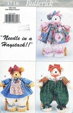 "Butterick Pattern 3718 Needle In A Haystack - 18"" Pammy Bears + Outfits! Complete"
