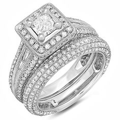 2.30 Carat (ctw) 14k White Gold Princess and Round Diamond Ladies Halo Style Bridal Engagement Ring Set With Matching Band 2 1/3 CT (Size 6)