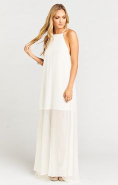 Bronte Maxi Dress is doing that racerback thing we love. From the front she totally looks like a sweet little halter and then in the back she's cut just right to be super flattering and show off your amazing yoga shoulders. And, she has another surprise! Beachy Maxi Dress, Boho Dress, Yoga Shoulder, Mumu Wedding, Ivory Bridesmaid Dresses, Boho Designs, Cute Dresses, Party Dress, Chiffon