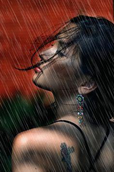 A beautiful woman in rain