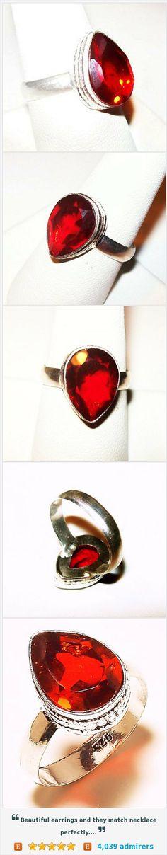 Natural Mozambique 6ct Garnet Ring Signed 925 Sterling Silver Sz 7 3/4 NOS Vintage https://www.etsy.com/listing/465355940/