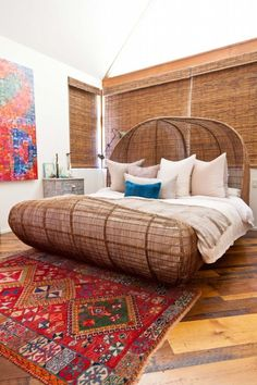The one thing in your room you use the most - your bed. Put some design love into art above the bed, a headboard or fabric board or a totally rad bedframe. Dream Bedroom, Home Bedroom, Bedroom Furniture, Bedroom Ideas, Vintage Bedroom Decor, Beautiful Bedrooms, Rattan, Wicker, Interior Design