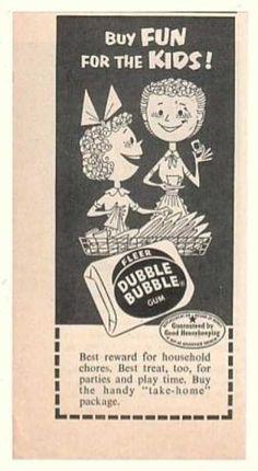 I remember this.  Fleer Dubble Bubble Gum Fun for Kids (1954)