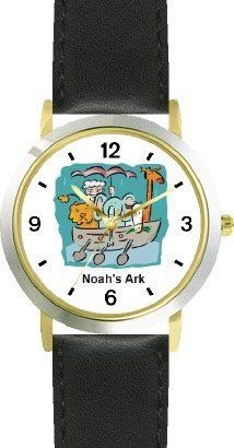 Noah's Ark No.1 - Biblical Theme - WATCHBUDDY® DELUXE TWO-TONE THEME WATCH - Arabic Numbers - Black Leather Strap-Children's Size-Small ( Boy's Size & Girl's Size ) WatchBuddy. $49.95