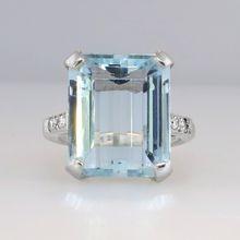 Outstanding Large Emerald Cut Aquamarine & Diamond Cocktail Ring 14k