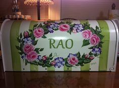 Hand Painted Mailbox Roses and Stripe on by PaulasCottageCharm