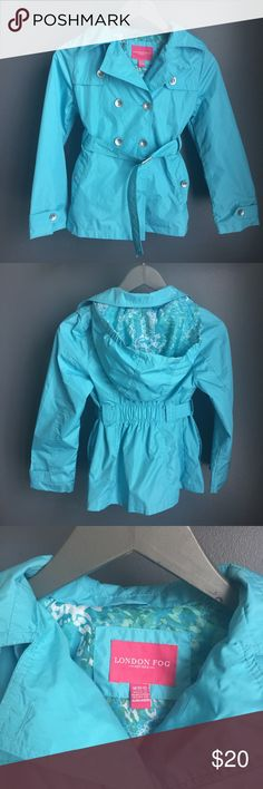 London Fog Raincoat Bright Blue London Fog Raincoat. Perfect for Spring! Size M (10/12). Double breasted with a built in belt and removable hood. Phone/device pocket inside of coat for safe keeping. 100% polyester. Minor snag on right sleeve (please see photo).  👗👛👠👙👕Bundle & Save! London Fog Jackets & Coats Raincoats