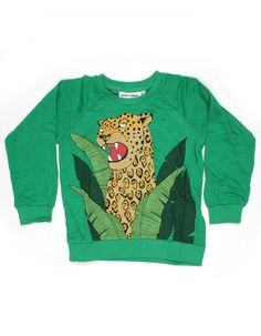 Green sweater with jaguar - Mini Rodini